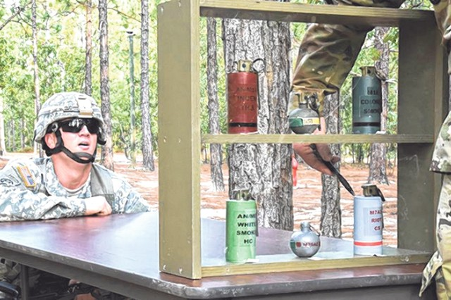 Sgt. 1st Class Martin Delaney reaches the last part of the hand-grenade course, in which he had to name each grenade in the case and its function. The hand-grenade course was one of numerous mystery events at the 2016 Drill Sergeant and Advanced Individual Training Platoon Sergeant of the Year competition at Fort Jackson, S.C. U.S.