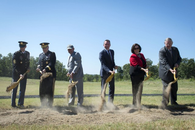 The groundbreaking ceremony for the National Army Museum at Fort Belvoir, Virginia, Sept. 14, 2016, was performed by (from left): Sgt. Maj. of the Army Daniel A. Dailey; Chief of Staff of the Army Gen. Mark A. Milley; Retired Army Chief of Staff Gen. Gordon R. Sullivan; Secretary of the Army Eric Fanning; Katherine Hammack, assistant secretary of the Army for Installations, Energy and Environment; and, retired Gen. William W. Hartzog, vice chairman of the Army Historical Foundation.