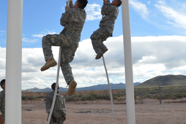 Soldiers from 1st Armored Division participate in the third annual Staff Sgt. Joshua Mills Commando Competition Sept. 8, at Fort Bliss, Texas.