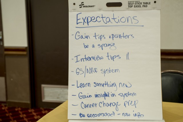 The list of expectations was compiled by attendees of the ACS Spouses and Family Member Employment Training Symposium and Job Fair held Sept. 13 at the Camp Zama Community Club. (U.S. Army photo by Alia Naffouj)