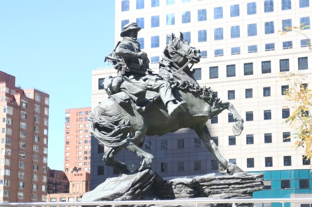 The America's Response Monument, aka Horse Soldier statue, sits in its final resting place at Liberty Park, adjacent to the 9/11 Memorial in New York City. The statue serves as a reminder of the bond formed between U.S. Special Operations Forces and the New York City first responders. (U.S. Army photo by Capt. Eric Hudson, 160th SOAR Public Affairs.)