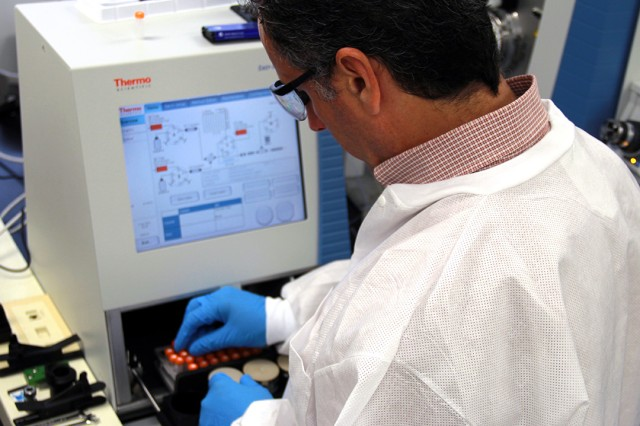 Researchers at ECBC are working on a system that will take advantage of portable analytical equipment currently on the horizon to detect food and water contaminates using the Agents of Biological Origin Identifier system.