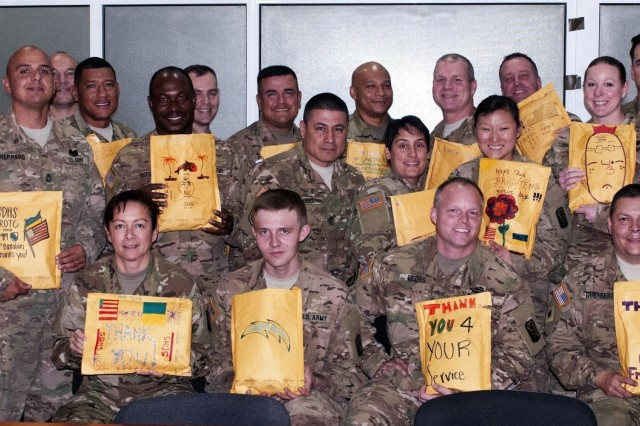 National Guard with packages from JROTC