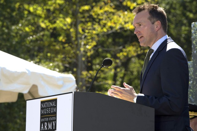 Secretary of the Army Eric Fanning speaks at the ceremony for the National Army Museum at Fort Belvoir, Va., Sept. 14, 2016.