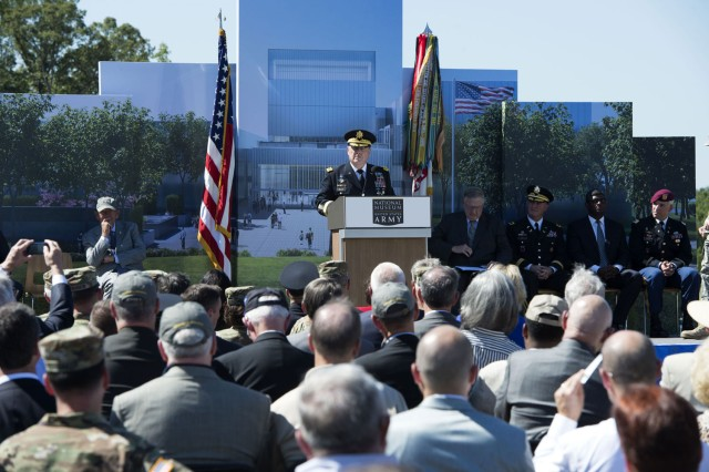 Chief of Staff of the Army Gen. Mark A. Milley speaks at the ceremony for the National Army Museum at Fort Belvoir, Virginia, Sept. 14, 2016.