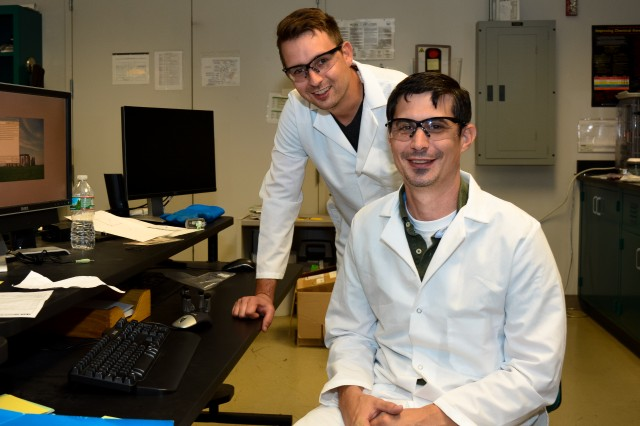 Dr. Kristopher A. Darling (right) and mechanical engineer Anthony Roberts work together in basic and applied research on nanomaterials to support the Soldiers of the future.