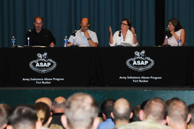 Soldiers attend the Addiction Performance Project presentation hosted by Fort Rucker's Army Substance Abuse Program at the post theater.