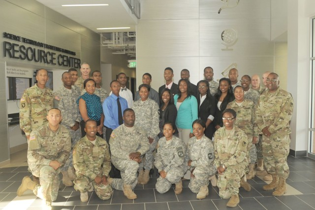 Charles R. Hamilton (second row, far left) BG Richard B. Dix (second row, far right) take a final photo with the Golden Lion Cadre at the University of Arkansas at Pine Bluff. The generals spoke to the cadets and other students about leadership and Army service.