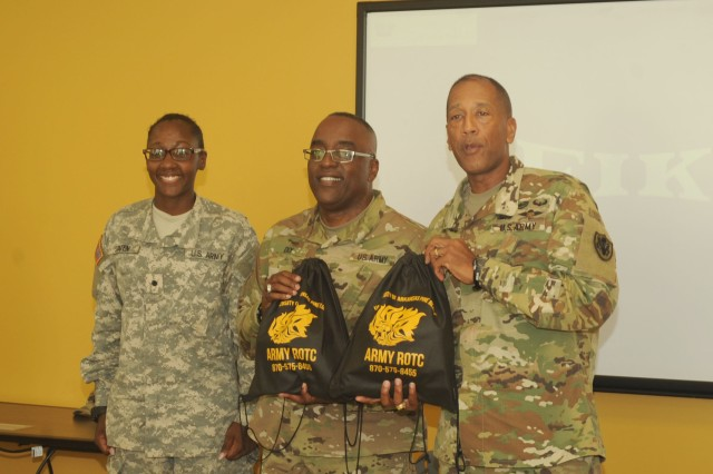 BG Charles R. Hamilton and BG Richard B. Dix were presented take away gifts from the Golden Lion cadre at the University of Arkansas at Pine Bluff. Having visited nearby Pine Bluff Arsenal, the generals took the opportunity to conduct an officer development panel with the cadets and students.