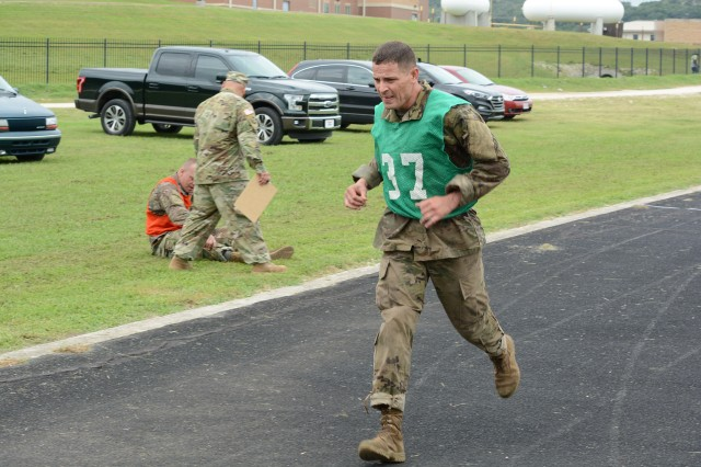 Pushing through with determination, Sergeant First Class Daniel E. Cummings completes the run portion of the physical fitness challenge. With only one day of rest, Cummings participated in the AMEDDC&S Best Medic Competition after finishing in second place at the 2016 Army Drill Sergeant and AIT Platoon Sergeant of the Year competition.
