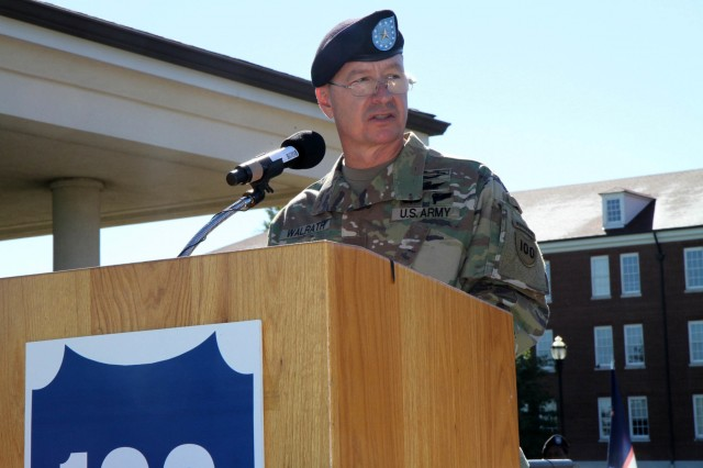 Brig. Gen. Jason L. Walrath, the outgoing commander of the 100th Training Division Operations Support, addresses his troops and the assembled family and friends during a Sunday morning Change of Command Ceremony at Brooks Parade FIeld, Fort Knox, Ky. on Sept. 11, 2016. Walrath first took command of the 100th Division back in September of 2014 and will go on to become the Deputy Commanding General - Support of the U.S. Army Recruiting Command. Brig. Gen. Aaron T. Walter assumed command of the 100th Division from Walrath during the formal ceremony.