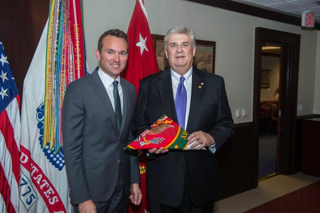 "The newest civilian aide to the secretary of the Army is invested during a ceremony conducted at the Pentagon in August 2016. Stephen ""Steve"" Lee was appointed by Secretary of the Army Eric Fanning to represent Ohio (South)."