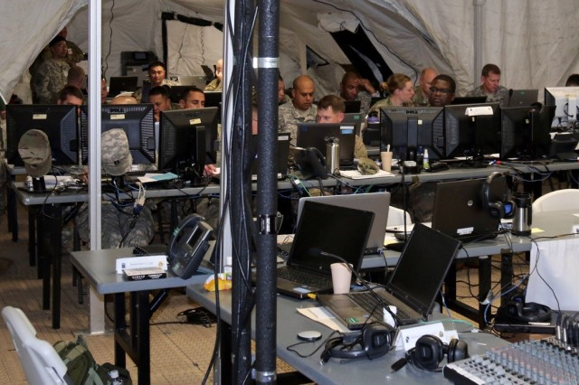 593rd Sustainment Command (Expeditionary) personnel participate in exercise Ulchi Freedoom Guardian 2016 in the 593rd ESC Early Entry Command Post in Yongin, Republic of Korea Aug. 27, 2016