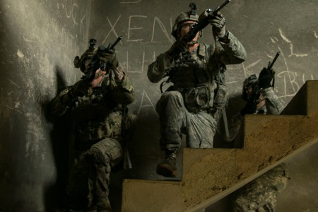 Soldiers from the 1st Battalion, 41st Infantry Regiment, 2nd Infantry Brigade Combat Team, 4th Infantry Division, currently deployed with the Multinational Battle Group-East, clear an abandoned building during Operation Iron Eagle IV, held in Zhegoc, Kosovo, Sept. 12, 2016.