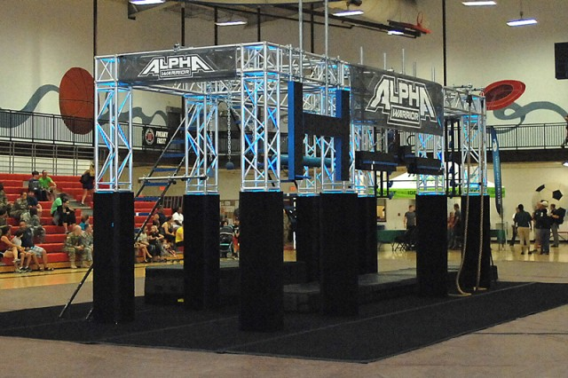 The Alpha Warrior Battle Rig is set up inside Fort Leonard Wood's Davidson Fitness Center Sept. 13. The Battle Rig is based on a much larger, permanent Alpha Warrior obstacle course in Texas.