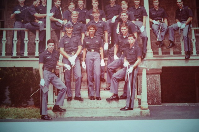 """U.S. Military Academy seniors in Company C-1, also known as """"firsties,"""" take a moment for a group shot in the Spring of 1982. Pictured, front center, is now Lt. Gen. Nadja West, Army Surgeon General and Commanding General, U.S. Army Medical Command, the highest ranking woman to graduate from the service academy. West, the youngest of 12 children, followed the footsteps of her father and nine siblings by joining the military. She credits one of her brothers, who also graduated from the U.S. Military Academy, for encouraging her to apply."""
