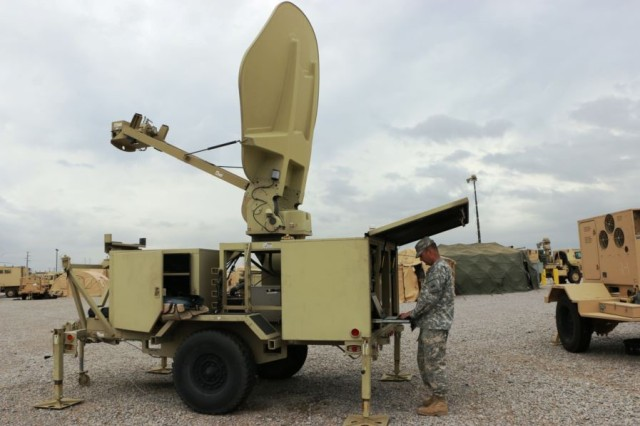 A Soldier works on a radar system, during the Army Warfighting Assessment 17.1, Validation Exercise at the Integration Motor Pool at Fort Bliss, Texas.