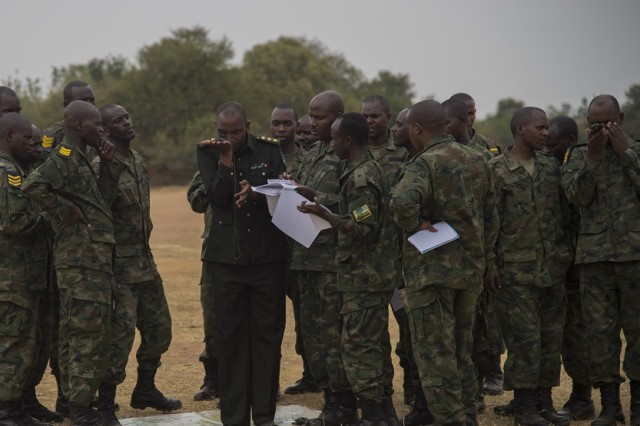 A Rwanda Defense Force captain demonstrates how to use a compass to achieve heading and direction during the navigation skills portion of a Rwandan noncommissioned officer leadership course Sept. 8, 2016, at the Rwanda Military Academy, Rwanda. Members of 1st Battalion, 124th Infantry Regiment, deployed from the Army National Guard to Combined Joint Task Force - Horn of Africa, observed the NCO course to provide advice and critiques to improve the class. (U.S. Air Force photo by Staff Sgt. Eric Summers Jr.)
