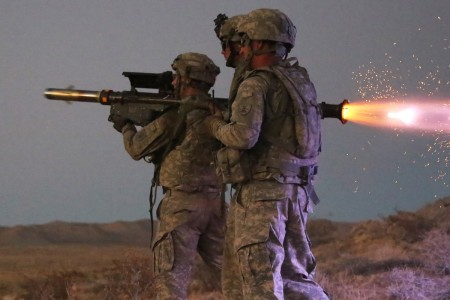 Soldiers assigned to the North Dakota National Guard fire a Stinger Missile, during a live-fire training exercise, part of Decisive Action Rotation 16-09, at the National Training Center/Fort Irwin, Calif., Sept. 6, 2016.