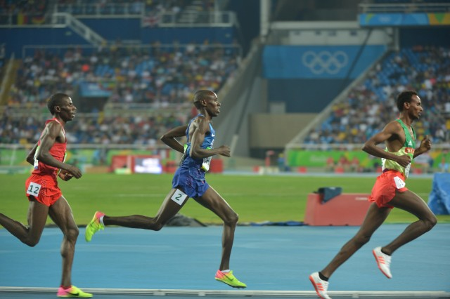 Spc. Paul Chelimo (center), a Silver Medalist in the 2016 Olympics, will be at the IMCOM booth at the Army 10-miler Expo to meet with fans and sign autographs.