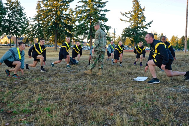 Soldiers participate in the Physical Readiness and Resiliency Training portion of the 593rd Sustainment Command (Expeditionary) Care for 22 Suicide Prevention Stand Down on Joint Base Lewis-McChord Sep. 22.