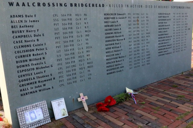 GRAFENWOEHR, Germany (September 26, 2016) -- The Waal Crossing Bridgehead memorial lists the names of those killed in action in September 1944. The 7ATC team visited the memorial as part of their Battle Staff Ride from Sept. 19 to 23, 2016 to the 72nd anniversary of Operation Market Garden.
