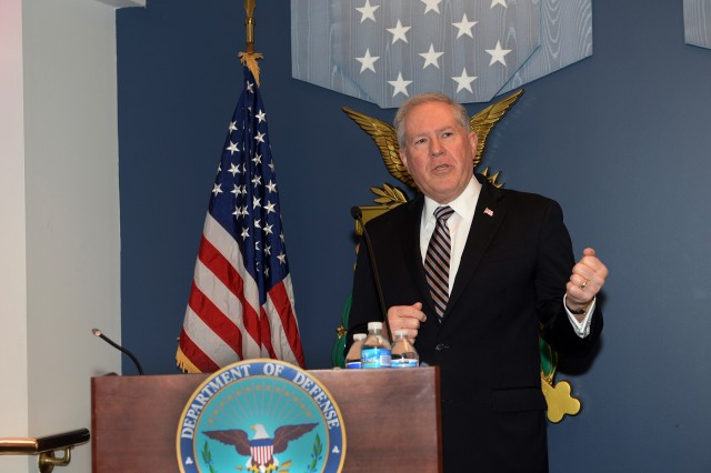 """Kendall addresses award winners and audience members at the December 2015 Defense Acquisition Workforce Awards ceremony at the Pentagon. One of the principles underpinning Kendall's BBP approach is the use of incentives and awards to improve both the professionalism of the workforce and the performance of industry. """"We get what we reward,"""" he noted. (U.S. Army photo by Leroy Council)"""
