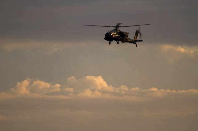 U.S. Army AH-64D Apache helicopter from 3rd Squadron 17th Cavalry Regiment, 3rd Combat Aviation Brigade returns after a training flight on Hunter Army Airfield September 20. U.S. Army photo by Spc. Scott Lindblom