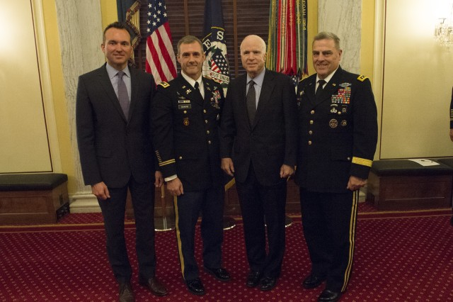 After receiving the Soldiers Medal, Lt. Col. David Diamond (second from left) poses with Secretary of the Army Eric Fanning (far left), Senator John McCain and Chief of Staff of the Army Gen. Mark Milley (far right).
