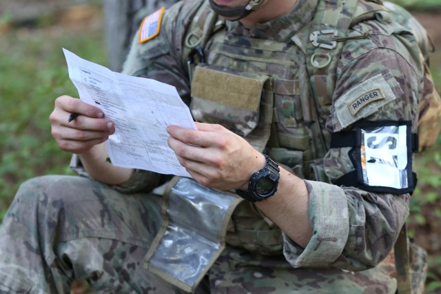 U.S. Army Spc. Trey Castor, assigned to U.S. Army Special Operations Command, demonstrates his tactical capabilities on a land navigation course during the U.S. Army 2016 Best Warrior Competition (BWC) at Fort A.P. Hill, Va., Sept. 27, 2016. The BWC is an annual weeklong event that will test 20 Soldiers from 10 major commands on their physical and mental capabilities. The top NCO and Soldier will be announced Oct. 3, in Washington DC.