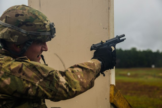 U.S. Army Staff Sgt. Ethan Rodgers, assigned to U.S. Army Europe, fires an M9 pistol during a marksmanship exercise at the U.S. Army 2016 Best Warrior Competition (BWC) at Fort A.P. Hill, Va., Sept. 28, 2016. The BWC is an annual weeklong event that will test 20 Soldiers from 10 major commands on their physical and mental capabilities. The top NCO and Soldier will be announced Oct. 3, in Washington DC.