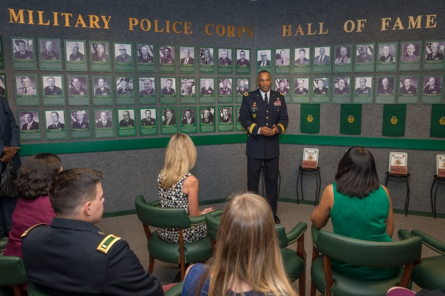 Brig. Gen. Kevin Vereen, chief, Military Police Regiment and MP School commandant, talks about the nominees for the MP Hall of Fame during their induction ceremony Sept. 21.