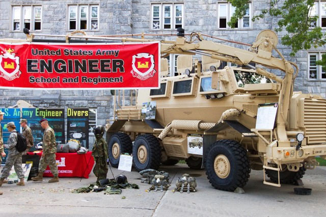 The Engineers branch is just one of the 17 Army branches who set up a display during Branch Week, Sept. 10-16. The Engineers displayed a Buffalo so cadets could explore, ask questions and learn more about the branch.