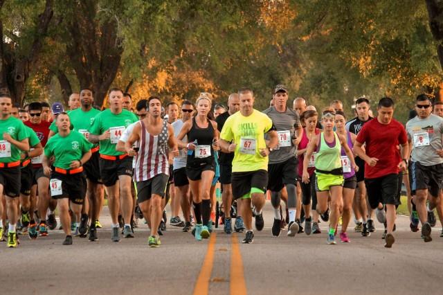 Runners sprint off the line during Fort Rucker's second Hispanic Heritage Half Marathon Sept. 24.