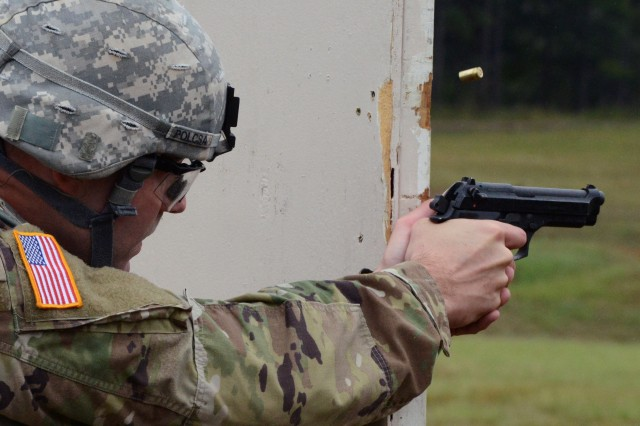 A Best Warrior competitor at Sept. 28, 2016, at Fort A.P. Hill, Virginia, fires at targets.
