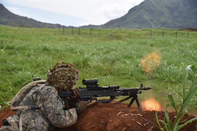 SCHOFIELD BARRACKS, Hawaii -- Soldiers, assigned to 1st Battalion, 27th Infantry Battalion, 2nd Infantry Brigade Combat Team, 25th Infantry Division, return fire from a dirt mound during Warrior Fury III Sept. 19, 2016, on Schofield Barracks. (U.S. Army photo by Staff Sgt. Carlos Davis, 2nd Infantry Brigade Combat Team Public Affairs/Released).