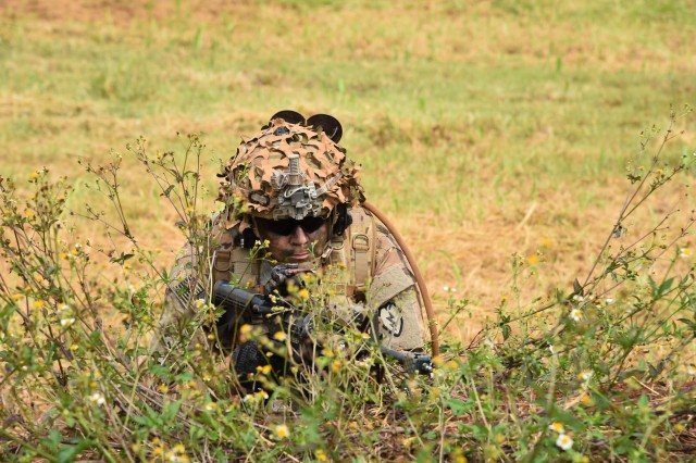 SCHOFIELD BARRACKS, Hawaii -- A U.S. Army Soldier, assigned to 1st Battalion, 27th Infantry Battalion, 2nd Infantry Brigade Combat Team, 25th Infantry Division, takes cover in the brush during Warrior Fury III Sept. 19, 2016, on Schofield Barracks. (U.S. Army photo by Staff Sgt. Carlos Davis, 2nd Infantry Brigade Combat Team Public Affairs/Released).
