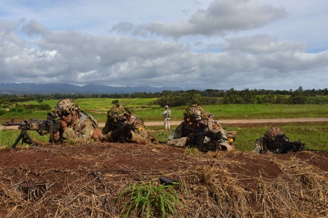 SCHOFIELD BARRACKS, Hawaii -- A U.S. Army Soldiers, assigned to 1st Battalion, 27th Infantry Battalion, 2nd Infantry Brigade Combat Team, 25th Infantry Division, return fire from a dirt mound during Warrior Fury III Sept. 19, 2016, on Schofield Barracks. (U.S. Army photo by Staff Sgt. Carlos Davis, 2nd Infantry Brigade Combat Team Public Affairs/Released).