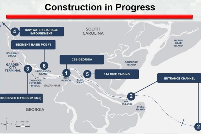 The graphic depicts ongoing construction of mitigation features for the Savannah Harbor Expansion Project.