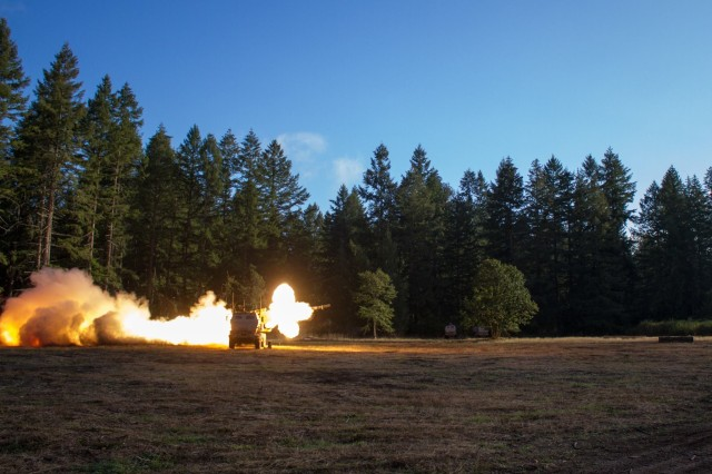 U.S. Army Soldiers with the 1st Battalion, 94th Field Artillery Regiment, 17th Field Artillery Brigade, 7th Infantry Division fire the first training rockets from a High Mobility Artillery Rocket System on Joint Base Lewis-McChord, Washington. I Corps and JBLM are conducting a test to collect noise pollution data that will help determine the future of HIMARS Live Fire Exercises on the base.