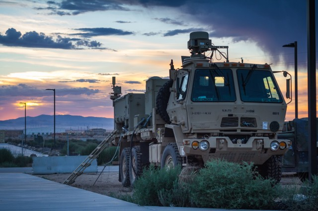 A U.S. Army light medium tactical vehicle assigned to 1st Battalion, 37th Field Artillery Regiment, 2nd Infantry Division Artillery maintains communication as the sun rises at Orchard Combat Training Center, Idaho, Sept. 29, 2016. The vehicle will be used for Raptor Fury, a month-long training exercise to validate the mission readiness of 16th Combat Aviation Brigade with support from nearly 1,500 7th Infantry Division Soldiers.