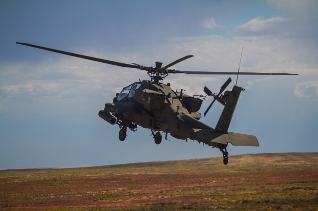 U.S. Army AH-64E Apache helicopter pilots assigned to 1st Battalion, 229th Aviation Regiment, 16th Combat Aviation Brigade, 7th Infantry Division, land at Orchard Combat Training Center, Idaho, Sept. 29, 2016. The aircraft will be part of Raptor Fury, a month-long exercise to validate 16th CAB's mission readiness with the support of nearly 1,500 7th ID Soldiers.