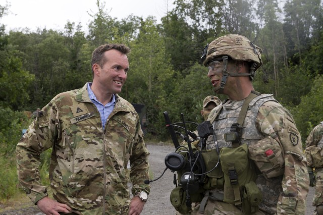Secretary of the Army Eric Fanning visited Soldiers from 4th Brigade, 25th Infantry Division, conducting a field training exercise on Joint Base Elmendorf-Richardson, Alaska, Aug. 4th, 2016.