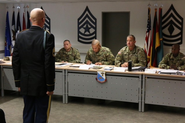 Sgt. 1st Class Edward Jervis, 1st Battalion, 4th Infantry Regiment, became the newest member of the Sergeant Morales Club, Sept. 28, 2016, as he completed the final selection board at 7th Army Noncommissioned Officer Academy, Grafenwoehr, Germany. Staff Sgt. Robert Carter and Staff Sgt. Danny Gardner, 1-4 Infantry Regiment, were also inducted into the prestigious U.S. Army Europe club.