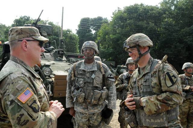 Gen. Mark A. Milley, U.S. Army Chief of Staff, speaks with rotational Soldiers of 1st Armored Brigade Combat Team, 1st Cavalry Division, serving with 2nd Infantry Division/ROK-US Combined Division, Aug. 18, 2016, at Rodriguez Live Fire Center, South Korea. Milley visited troops in several locations on the peninsula and received updates on rotational brigade deployments, the combined U.S. and ROK 2nd Infantry Division, and the relocation of U.S. Army units to Camp Humphreys.