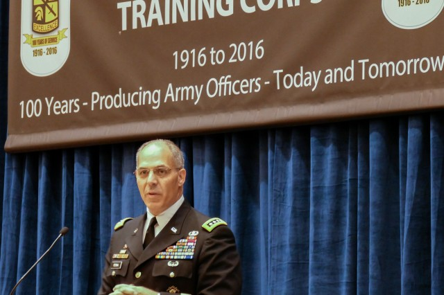 Gen. Gus Perna, Army Materiel Command commanding general, addresses ROTC cadets at a luncheon during the Association of the United States Army Annual Meeting and Exposition, Oct. 3 in Washington, D.C.