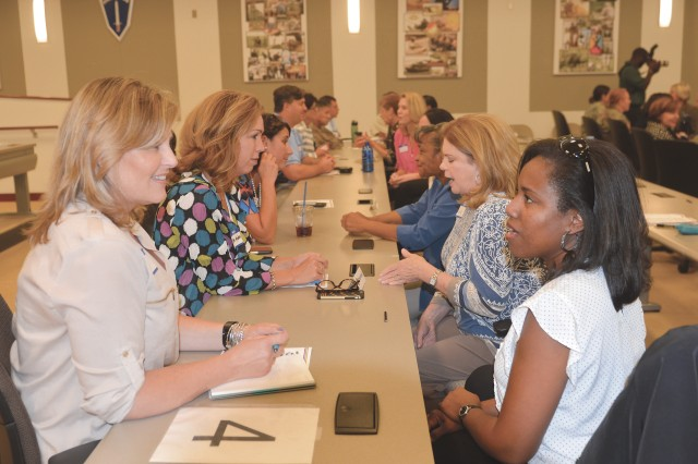 Attendees participate in speed networking during the first Women's Leadership and Mentorship Forum Oct. 3 in McGinnis-Wickam Hall.