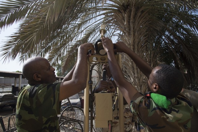 Djibouti Armed Forces (FAD) service members set up an Africa Data Sharing Network (ADSN) satellite during validation training Sept. 28, 2016, at FAD Headquarters in Djibouti. While conducting the best practices training, the U.S. Army, assigned to Combined Joint Task-Horn of Africa, also held an ADSN validation with the FAD soldiers to prepare them to deploy to Somalia. The ADSN provides network and Voice over Internet Protocol capabilities between the several African countries participating in the Africa Union Mission in Somalia. (U.S. Air Force photo by Tech. Sgt. Henry Rios)