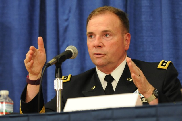 Lt. Gen. Ben Hodges, commander of U.S. Army Europe, answers a question from an audience member during a panel discussion at the Association of the U.S. Army Annual Meeting and Exposition in Washington, D.C., Oct. 3, 2016.