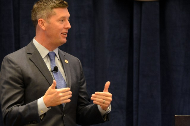 Under Secretary of the Army Patrick J. Murphy speaks during the Department of the Army Civilian Luncheon, at the Association of the United States Army Annual Meeting and Exhibition, Oct. 5, 2016.
